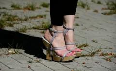 FEET feet N TOES WALKING IN WOODEN WEDGES high HEELS