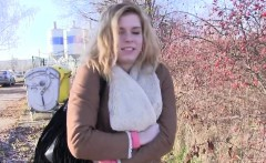 Blonde Czech amateur bangs outdoor