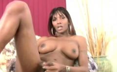 Feminine ebony tranny crams thick dildo in anal and cumshots