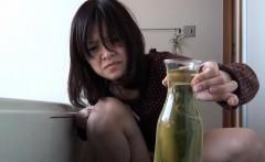Kinky asian collects pee