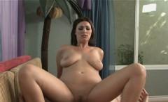 Amazing brunette babe enjoys a hard pounding