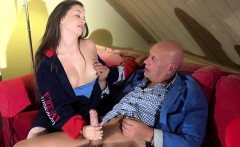 Tight Young Teen Gets Cum Face Pussy Sex From Grandpa