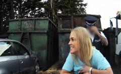 Uniformed cop fucks blonde outdoors