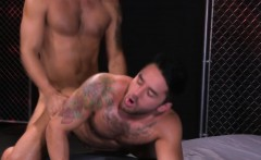 Tattooed twink banged with a fat dick