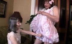 Two crossdressers handjob and masturation