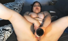 BBW MILF Loves Anal Toying And Fucking Wine Bottle