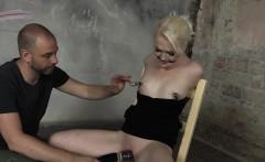 gagged blonde bdsm sub toyed by maledom