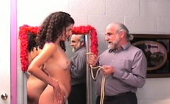Sexy scenes of coarse bondage on busty babe's pussy