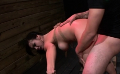 Asian beauty in ropes gets her taut little pussy destroyed