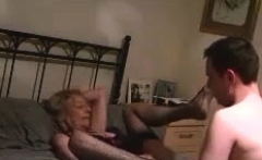 Cute young blonde in stockings fucked by older British man