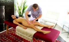 Amateur massage beauty doggystyled by masseur