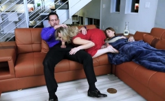 Stepdad fucked Zoey and helped him cum hard