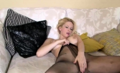 Nylon Fetish With Blonde in Pantyhose