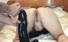 Gigantic dildo fucked and fisted amateur wife