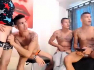 Gays having a group sex party