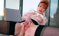 Redhead Office Slut Plays With Her Red Cunt