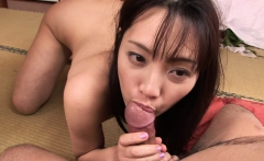 Moaning brunette Asian rides that dick as she screams