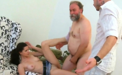 Delightsome young seductress sucks and rides old penis