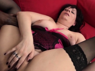 Brunette mature in stockings is anally addicted to BBC
