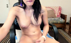 Big Tits Shemale Masturbate her Big Cock