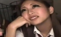Asuka Hoshi Asian teen in school uniform enjoys giving head