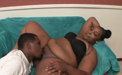 Ebony hottie satisfies a fat dick