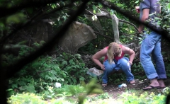 Teen couple is fucking outdoor and voyeur watching them