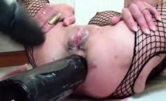 XXL Double dildo fucking both her holes