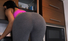 Maid in yoga pants cleans up
