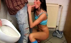 Cum in her ass hole xxx Debbie screwed in public toilet