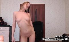 Beauty Blue Eyes Blonde Cam Show In Bedroom