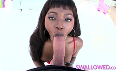 SWALLOWED Noemie Bilas makes this big cock disappear