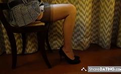Lovely short pleated skirt and stockings.