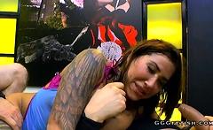 Busty and tattooed heidi van horny gets cumshots