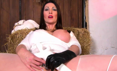 Oiled up milf jerk off a big cock takes load on ass