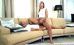 Rimming pleasure with sexy brunette Ornella Morgen