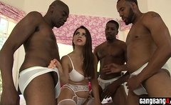 BBC dudes interracial gangbanged a busty white bitch
