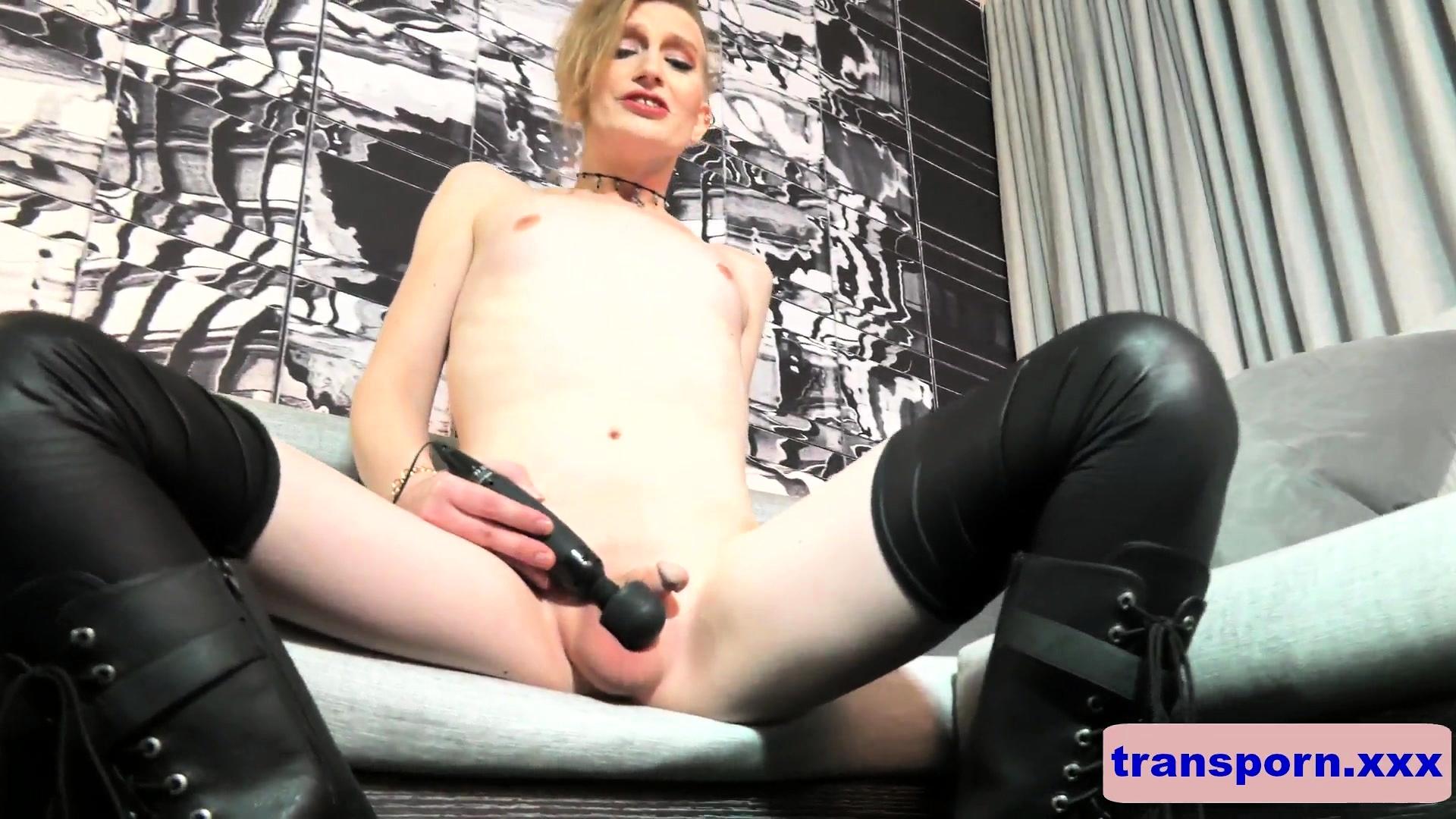 Cute alternative femboy uses a vibrator