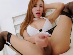 Damn Hot Asian Redhead Ts Aee Pink Goes Solo Masturbation