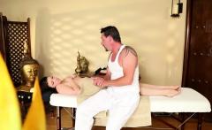 Cute brunette consumes masseurs cock