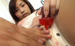 Toys playing and rod sucking with a sassy oriental playgirl