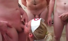 Nasty blonde nurse gets horny sucking