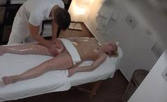 Blonde MILF blows the masseuse