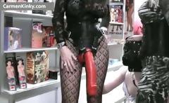 Two kinky MILF fucking dude with strap