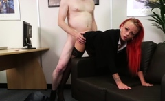 Redhead femdom humiliates tiny dick guy at interview