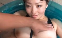 Asian sex doll gets teased thru her torn swim suit