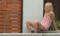 Blonde russian honey Sasha teasing her snatch outdoor