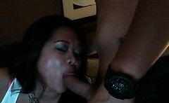 Hot oriental babe sucks stiff boner